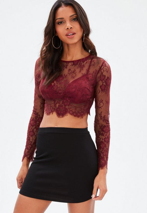 Burgundy Lace Crop Top   Missguided