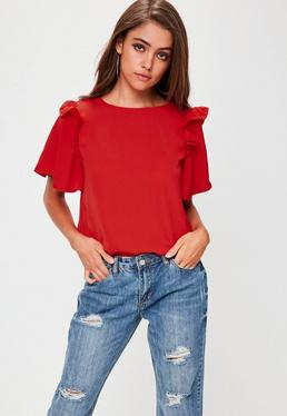 Red Ruffle Shoulder Top