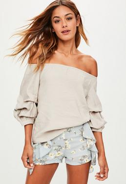Beige Puff Sleeve Bardot Top