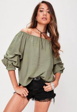 Khaki Puff Sleeve Bardot Top