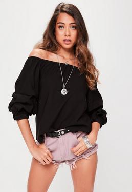 Black Puff Sleeve Bardot Top