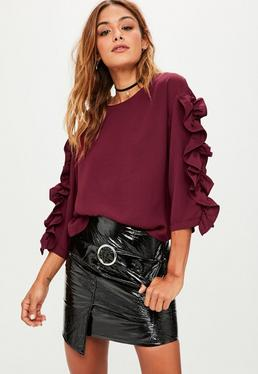 Burgundy Long Sleeved Frill Top
