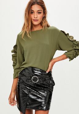 Khaki Long Sleeve Frill Top
