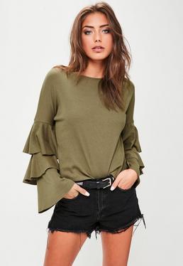 Khaki Frill Sleeve Jersey Top