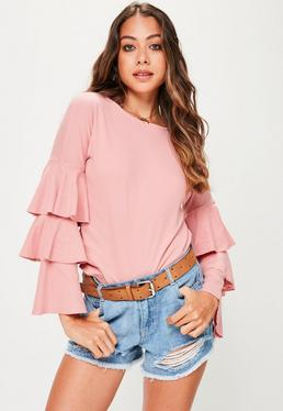 Pink Frill Sleeve Jersey Top