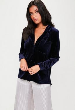 Navy Velvet Pyjama Style Shirt
