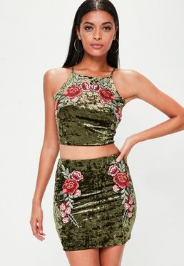 Khaki Velvet Applique Crop Top