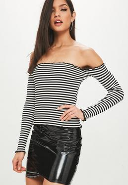 Monochrome Frill Trim Rib Knit Bardot Top
