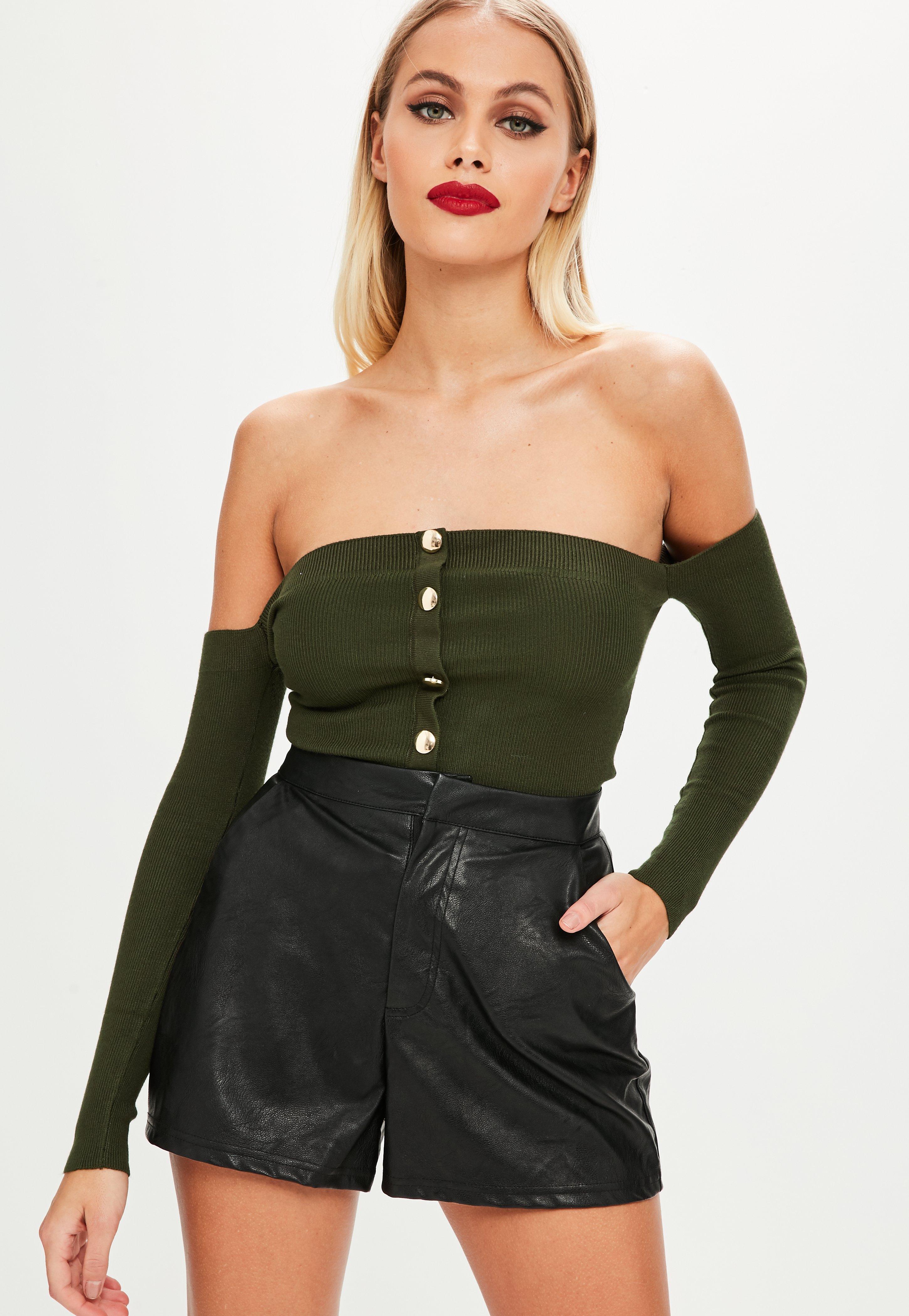 b84ece9fb74 Khaki Button Front Bardot Top | Missguided Ireland