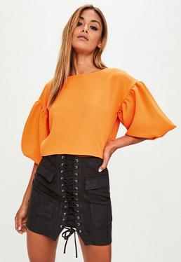 Orange Puff Sleeves Top