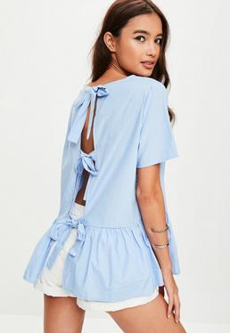 Blue Peplum Tie Back Blouse