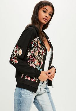 Black Floral Embroidered Zip Front Hoodie
