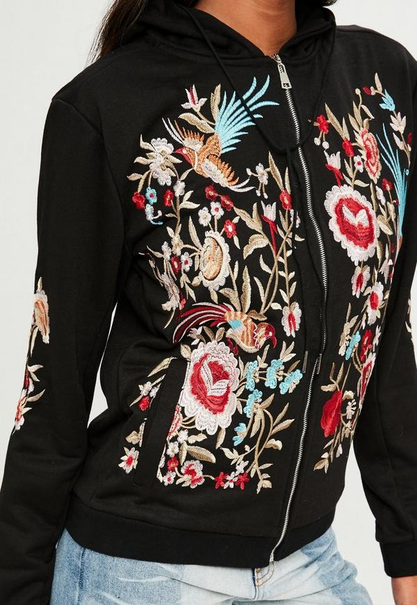 Black Floral Embroidered Zip Front Hoodie Missguided