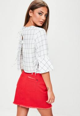 White Checked Tie Back Top