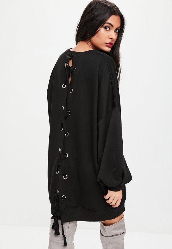Black Lace Up Back Graphic Sweater Dress | Missguided