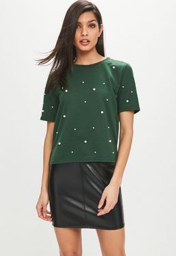 Green Pearl Embellished Sweat