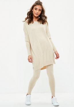 Beżowy komplet leginsy + sweter