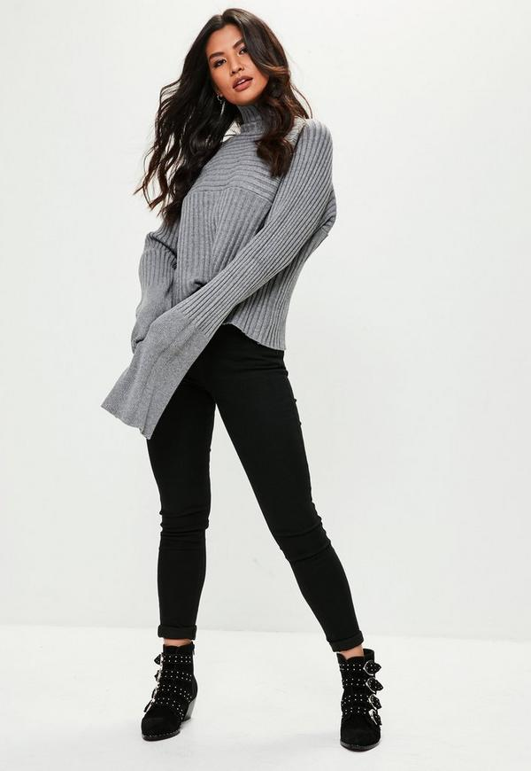 32906dde2aa0 Grey Exaggerated Sleeve Ribbed Sweater
