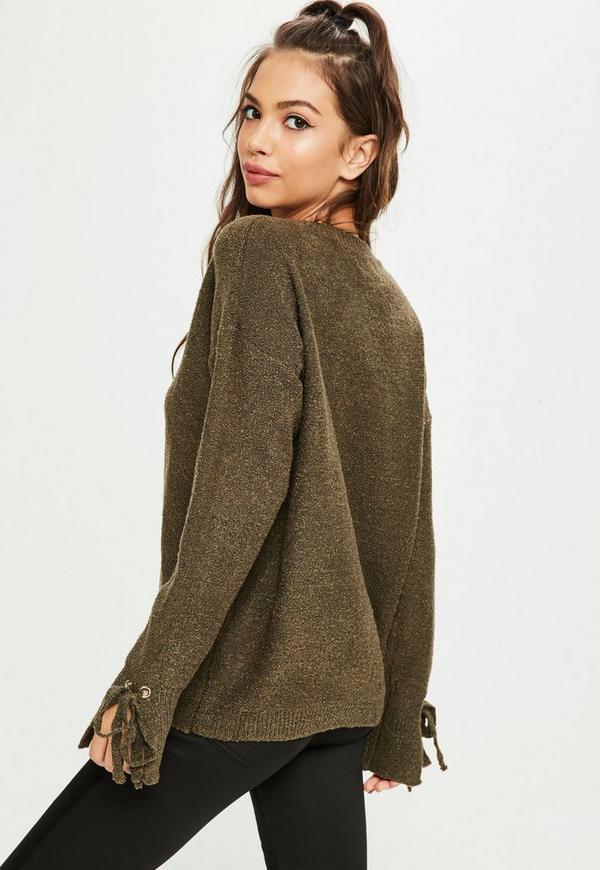 Khaki Lace Up Chunky Oversized Sweater   Missguided