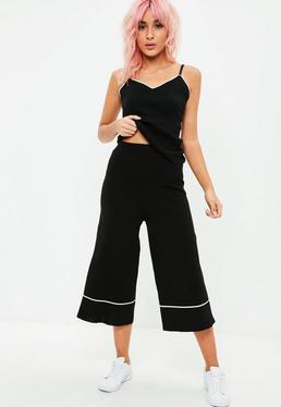 Black Knitted Cami Culottes Set