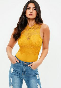 Yellow Lace High Neck Bodysuit