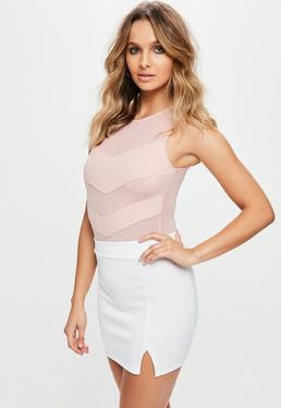 Pink Mesh Panel Bodysuit
