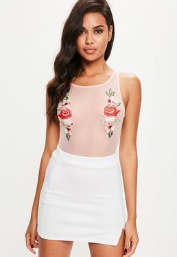 Pink Floral Applique Mesh Bodysuit