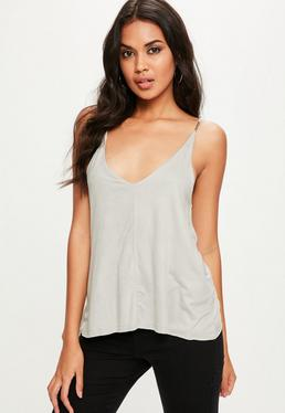 Grey Faux Suede Cami Top