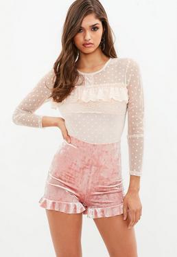 Pink Sheer Pin Spot Bodysuit
