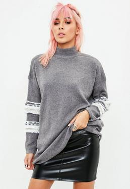 Grey Trim Sleeve Longline Jumper