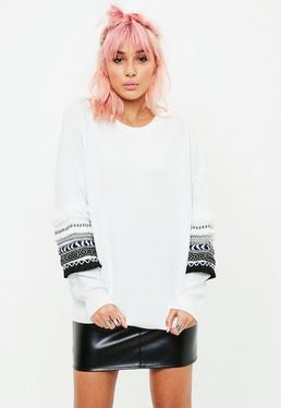White Trim Sleeve Sweatshirt