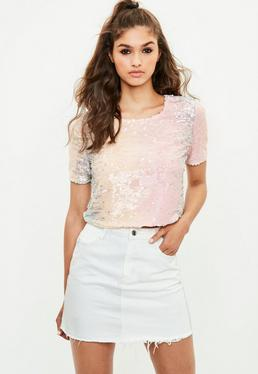 Pink Ombre Sequin Top