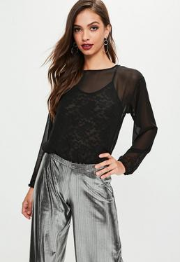 Black Lace Underlay Bodysuit