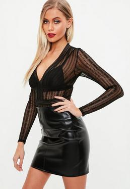 Black Lace Long Sleeve Bodysuit