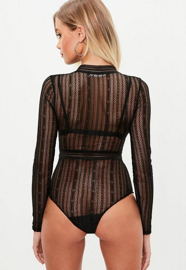 Team the cute lace bodysuit with a pair of high waisted tailored pants for a fresh take on occasion wear for those big deal events. Got a night out planned? Black Roll Neck Long Sleeve Bodysuit. $ Black Ribbed Square Neck Thong Bodysuit. $ Black Lace Up Longsleeve Thong Bodysuit.