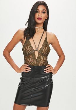 Khaki Lace Cami Harness Bodysuit