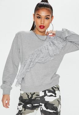 Grey Lace Sweatshirt
