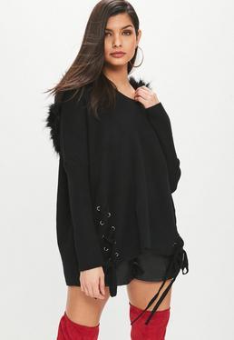Black Fur Trim Knitted Hoody