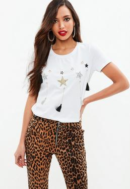 White Star Embellished Tshirt