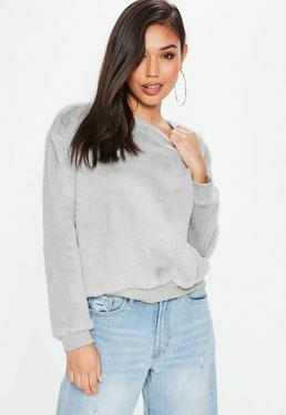 Gray All Over Faux Fur Sweater