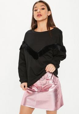 Black Faux Fur Stripe Sweat