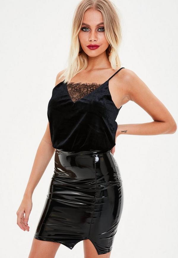 645e0b4ce765 Green Velvet Lace Insert Bodysuit Missguided   2019 trends   xoosha