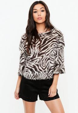 White Fluffy Zebra Top
