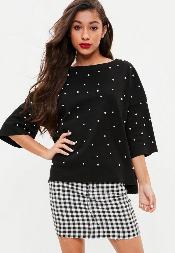 Black Pearl Front Sweatshirt Top Missguided