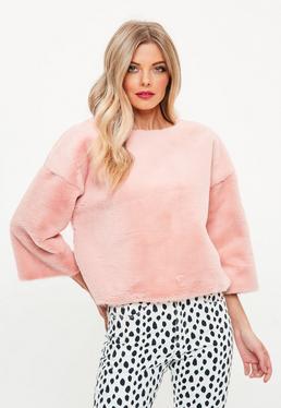 Różowa bluza z futerka