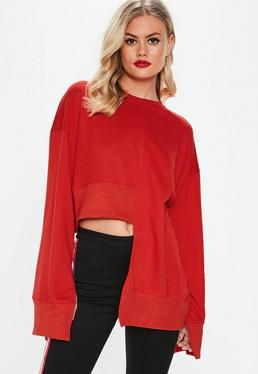 Red Cut Hem Sweatshirt