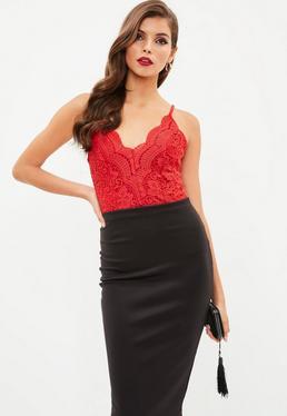 Red Crochet Lace Bodysuit