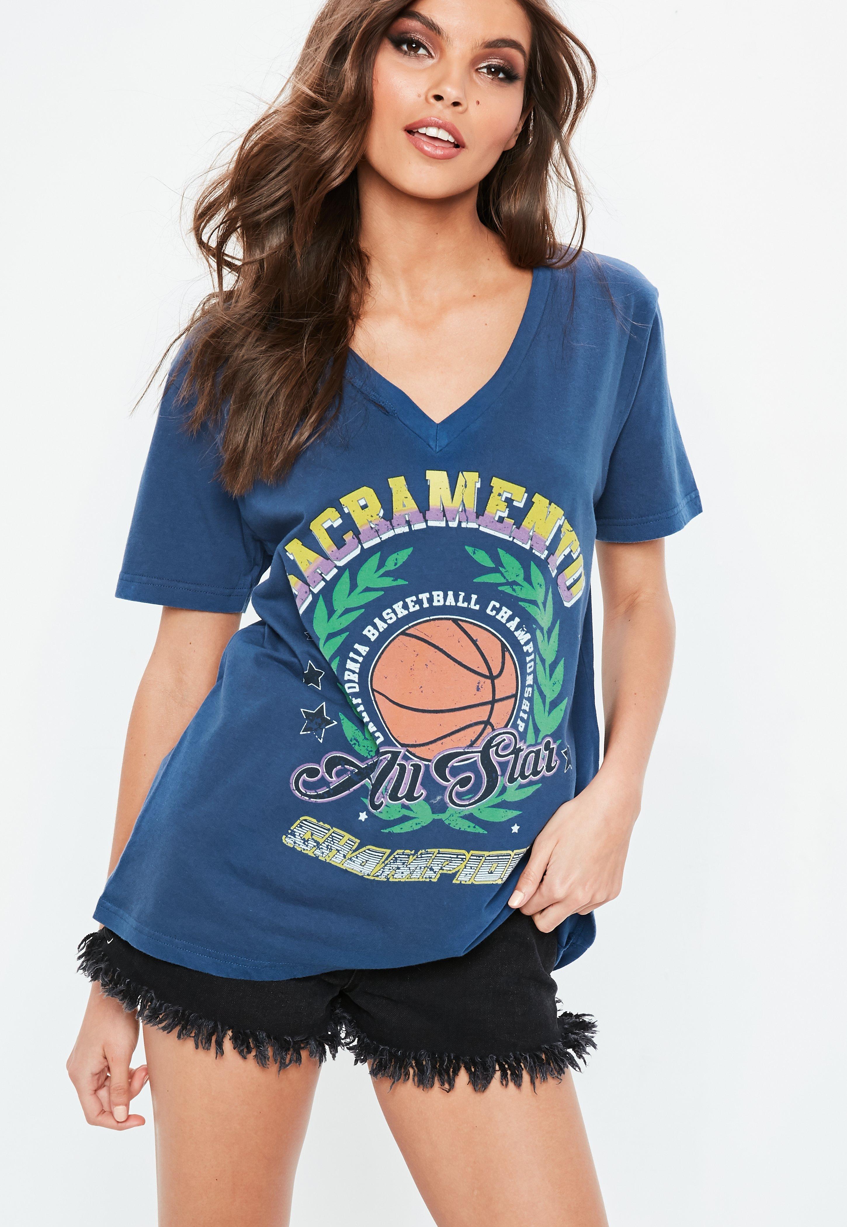 Blue V Neck Printed T-shirt