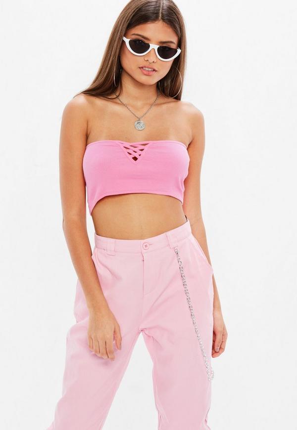 84cfa4b375 Pink Ribbed Boob Tube