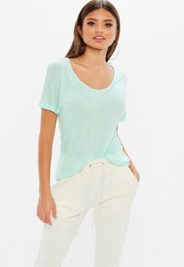 Mint Green Scoop Neck Ribbed T Shirt
